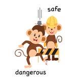 Opposite safe and dangerous illustration. Opposite safe and dangerous vector illustration stock illustration