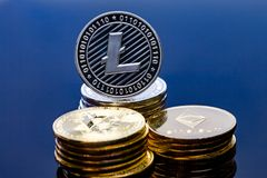 Techcoin. The opposite side of a  golden tech coin Royalty Free Stock Photos