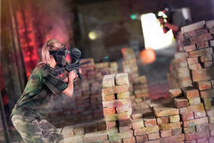 Opposite team in paintball game Stock Images