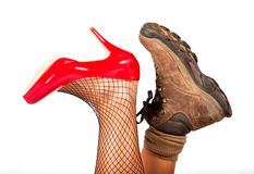 Opposite types of shoes Stock Image