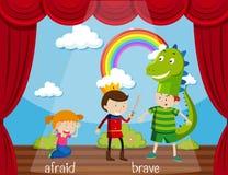 Opposite word for afraid and brave. Illustration stock illustration