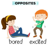 Opposite word for bored and excited. Illustration royalty free illustration