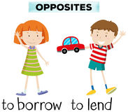 Opposite wordcard for borrow and lend Royalty Free Stock Images