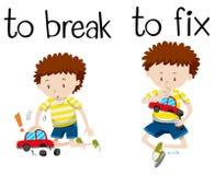 Opposite wordcard for break and fix. Illustration Stock Image