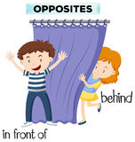 Opposite wordcard for infront of and behind Stock Photos