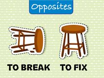 Opposite wordcard for to break and to fix. Illustration vector illustration