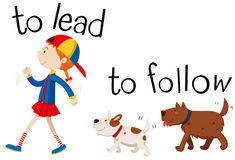 Opposite wordcard for to lead and to follow Stock Photography