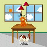 Opposite words for above and below with cat and dog in the room. Illustration Royalty Free Stock Photos