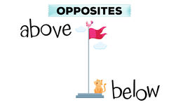Opposite words for above and below. Illustration Royalty Free Stock Images