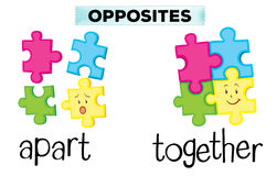 Opposite words for apart and together. Illustration Royalty Free Stock Photo