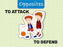 Opposite words for attack and defend. Illustration royalty free illustration