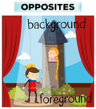 Opposite words for background and foreground. Illustration vector illustration