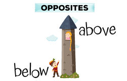 Opposite words for below and above. Illustration Royalty Free Stock Photos