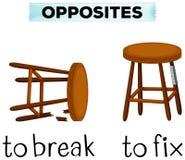 Opposite words for break and fix. Illustration royalty free illustration