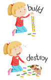 Opposite words for build and destroy. Illustration vector illustration
