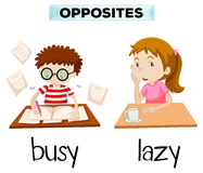 Opposite words for busy and lazy royalty free illustration