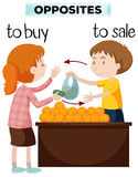 Opposite words for buy and sale. Illustration Royalty Free Stock Photos
