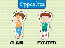 Opposite words for calm and excited. Illustration Royalty Free Stock Image