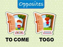 Opposite words for come and go. Illustration Stock Images