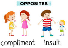 Opposite words for compliment and insult royalty free illustration