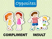 Opposite words for compliment and insult. Illustration royalty free illustration