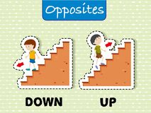 Opposite words for down and up. Illustration Royalty Free Stock Photos