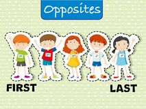 Opposite words for first and last. Illustration Stock Image