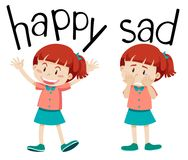 Opposite words for happy and sad. Illustration royalty free illustration