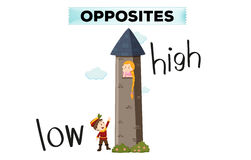 Opposite words for low and high stock illustration