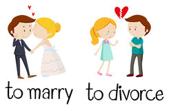 Opposite words for marry and divorce. Illustration Stock Photo