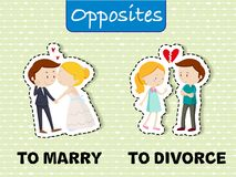 Opposite words for marry and divorce. Illustration Stock Photography