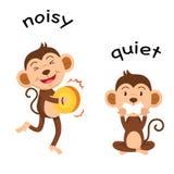 Opposite words noisy and quiet vector Stock Photos
