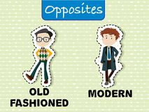 Opposite words for old fashioned and modern. Illustration vector illustration