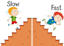 Opposite words slow and fast Stock Image