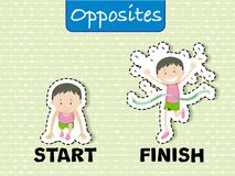 Opposite words for start and finish. Illustration Royalty Free Stock Photography