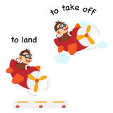 Opposite words to land and to take off vector. Illustration Stock Image