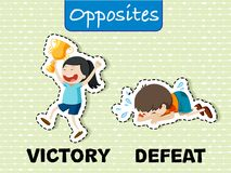 Opposite words for victory and defeat. Illustration Stock Image