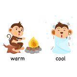 Opposite words warm and cool vector Royalty Free Stock Images