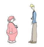 Opposites. An illustration of a tall and thin man with a camera, standing face to face to a short and plump man with a camera Vector Illustration