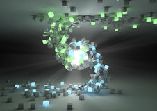 Opposites attract. Render of a glowing sphere attracting cubes Royalty Free Stock Photography