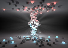 Opposites attract. Render of a glowing sphere attracting cubes Royalty Free Stock Photos