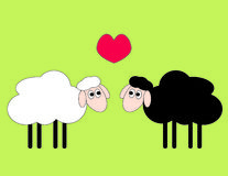 Opposites attract. Two sheep in love vector illustration Royalty Free Stock Photography