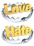 Opposites Love/Hate Trap. Gold word Love and Hate in center of shiny steel trap with sharp teeth. Symbol of balance and risk. Isolated 3D illustration Stock Photo