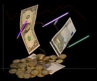 Oppositie van munten. Rur het vallen. Humeur. Stock Fotografie