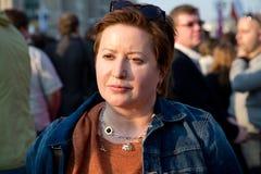 Opposition activist Olga Romanova. Olga Romanova on opposition rally in support of activists jailed on May 6 rally at Bolotnaya square on 17 april of 2013. She Stock Photos