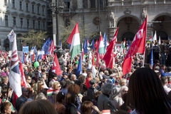 Opposition demonstration in Budapest Royalty Free Stock Photos