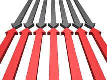 Opposition facing arrows conflict red and black Stock Photo