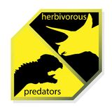 Opposition of herbivores and carnivorous dinosaurs. Vector image. Opposition of herbivores and carnivorous dinosaurs. EPS10 stock illustration