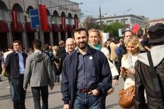 Opposition Ilya Ponomarev and Alena Popova. MOSCOW, RUSSIA - may 6, 2012: Opposition Ilya Ponomarev and Alena Popova at the opposition rally Stock Photography