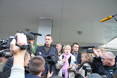 Opposition leader Alexei Navalny arrived in Khimki Stock Image